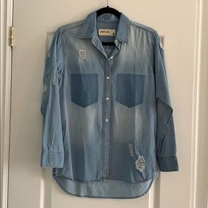 Nasty Gal Distressed Denim Shirt